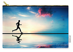 Silhouette Of Man Running At Sunset Carry-all Pouch