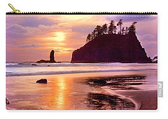Silhouette Of Sea Stacks At Sunset Carry-all Pouch