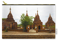 Carry-all Pouch featuring the photograph Smaller Temples Next To Dhammayazika Pagoda Built In 1196 By King Narapatisithu Bagan Burma by Ralph A  Ledergerber-Photography