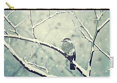 Sparrow On The Snowy Branch Carry-all Pouch
