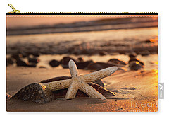 Starfish On The Beach At Sunset Carry-all Pouch