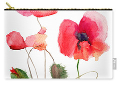 Stylized Poppy Flowers Illustration Carry-all Pouch
