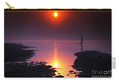 Sunset At Ganga River In The Planes Of Provinces Carry-all Pouch by Navin Joshi
