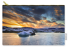 sunset at Jokulsarlon iceland Carry-all Pouch by Gunnar Orn Arnason