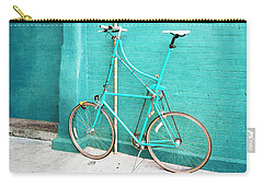Carry-all Pouch featuring the photograph Tall Bike On Aqua Blue Green by Brooke T Ryan