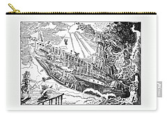 Carry-all Pouch featuring the drawing The Flying Submarine by Reynold Jay