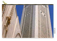 Carry-all Pouch featuring the photograph The Hassan II Mosque Grand Mosque With The Worlds Tallest 210m Minaret Sour Jdid Casablanca Morocco by Ralph A  Ledergerber-Photography