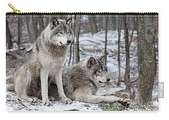 Timber Wolf Pair In Forest Carry-all Pouch