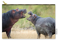 Two Hippopotamuses Hippopotamus Carry-all Pouch by Panoramic Images