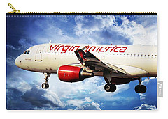 Flight Carry-all Pouch featuring the photograph Virgin America Mach Daddy by Aaron Berg