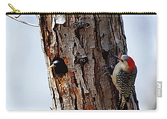 Woodpecker And Starling Fight For Nest Carry-all Pouch by Gregory G. Dimijian