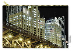 Carry-all Pouch featuring the photograph Wrigley Building At Night by Sebastian Musial