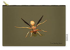 Carry-all Pouch featuring the photograph Yellow Jacket Wasp by Tom Janca
