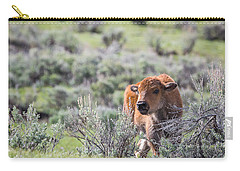 Carry-all Pouch featuring the photograph Bison Calf by Michael Chatt