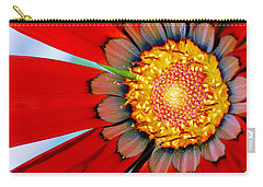 Carry-all Pouch featuring the photograph Zinnia In Red by Wendy Wilton