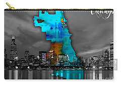 Chicago Map And Skyline Watercolor Carry-all Pouch