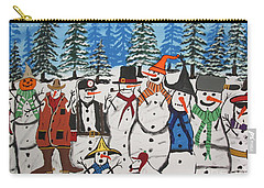 10 Christmas Snowmen  Carry-all Pouch by Jeffrey Koss