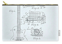Guitar Patent Drawing On Blue Background Carry-all Pouch