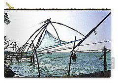 Fishing Nets On The Sea Coast In Alleppey Carry-all Pouch by Ashish Agarwal