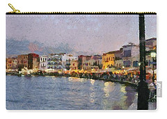 Painting Of The Old Port Of Chania Carry-all Pouch