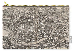 1652 Merian Panoramic View Or Map Of Rome Italy Carry-all Pouch