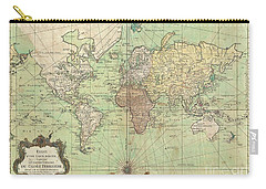 1778 Bellin Nautical Chart Or Map Of The World Carry-all Pouch