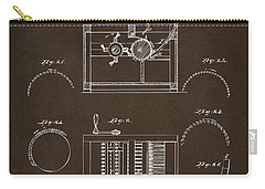 Carry-all Pouch featuring the drawing 1794 Eli Whitney Cotton Gin Patent Espresso by Nikki Marie Smith