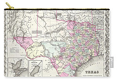 1855 Colton Map Of Texas Carry-all Pouch