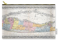 1857 Colton Travellers Map Of Long Island New York Carry-all Pouch