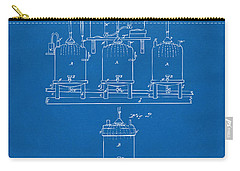 Carry-all Pouch featuring the digital art 1873 Brewing Beer And Ale Patent Artwork - Blueprint by Nikki Marie Smith