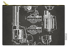Carry-all Pouch featuring the digital art 1875 Colt Peacemaker Revolver Patent Artwork - Gray by Nikki Marie Smith