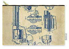 Carry-all Pouch featuring the digital art 1875 Colt Peacemaker Revolver Patent Vintage by Nikki Marie Smith
