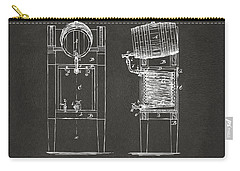 Carry-all Pouch featuring the digital art 1876 Beer Keg Cooler Patent Artwork - Gray by Nikki Marie Smith
