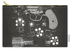 Carry-all Pouch featuring the digital art 1881 Colt Revolving Fire Arm Patent Artwork - Gray by Nikki Marie Smith