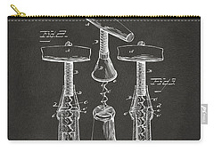 Carry-all Pouch featuring the digital art 1883 Wine Corckscrew Patent Artwork - Gray by Nikki Marie Smith