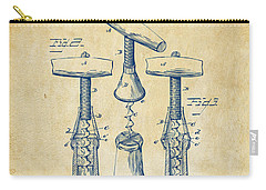 1883 Wine Corckscrew Patent Artwork - Vintage Carry-all Pouch by Nikki Marie Smith