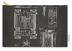 Carry-all Pouch featuring the digital art 1889 First Computer Patent Gray by Nikki Marie Smith