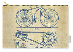 1890 Bicycle Patent Artwork - Vintage Carry-all Pouch