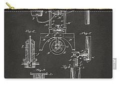 Carry-all Pouch featuring the digital art 1890 Bottling Machine Patent Artwork Gray by Nikki Marie Smith