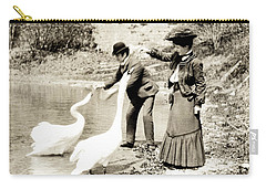 1890 Feeding Swans In Paris Carry-all Pouch