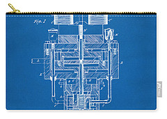 Carry-all Pouch featuring the drawing 1894 Tesla Electric Generator Patent Blueprint by Nikki Marie Smith