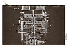 Carry-all Pouch featuring the drawing 1894 Tesla Electric Generator Patent Espresso by Nikki Marie Smith