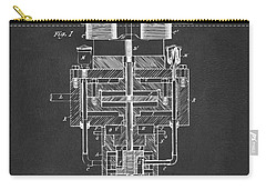Carry-all Pouch featuring the drawing 1894 Tesla Electric Generator Patent Gray by Nikki Marie Smith