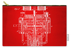Carry-all Pouch featuring the drawing 1894 Tesla Electric Generator Patent Red by Nikki Marie Smith