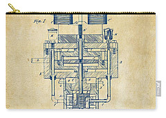 Carry-all Pouch featuring the drawing 1894 Tesla Electric Generator Patent Vintage by Nikki Marie Smith