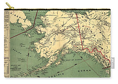 Carry-all Pouch featuring the photograph 1897 Map Of Alaska by Charles Beeler