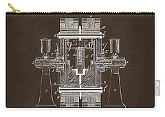 Carry-all Pouch featuring the drawing 1898 Tesla Electric Circuit Patent Artwork Espresso by Nikki Marie Smith