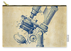 Carry-all Pouch featuring the digital art 1899 Microscope Patent Vintage by Nikki Marie Smith