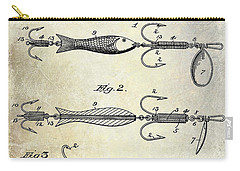 1900 Fishing Hook Patent Drawing Carry-all Pouch