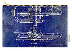 1901 Wind Musical Instrument Patent Drawing Blue Carry-all Pouch